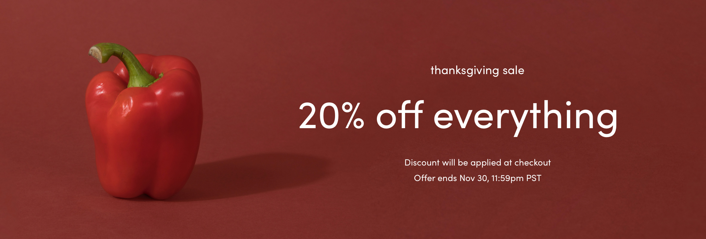 Thanksgiving sale - 20% off everything