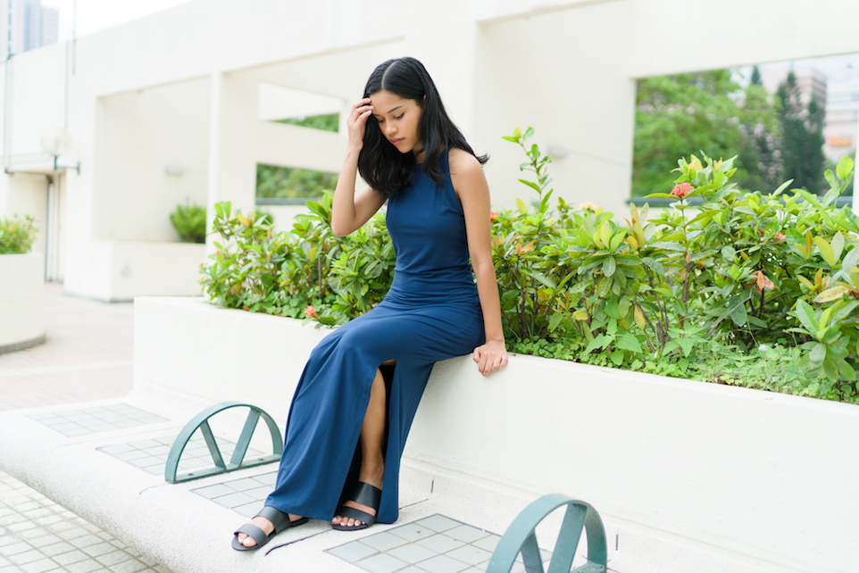 Navy Pima Maxi Dress