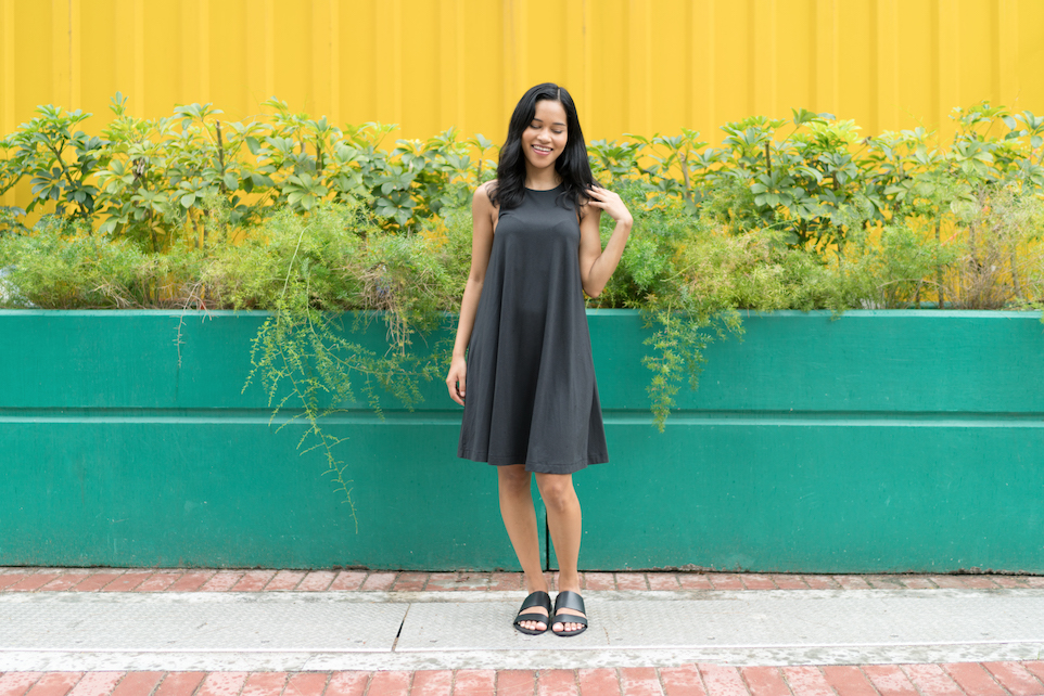 Black Pima Trapeze Dress